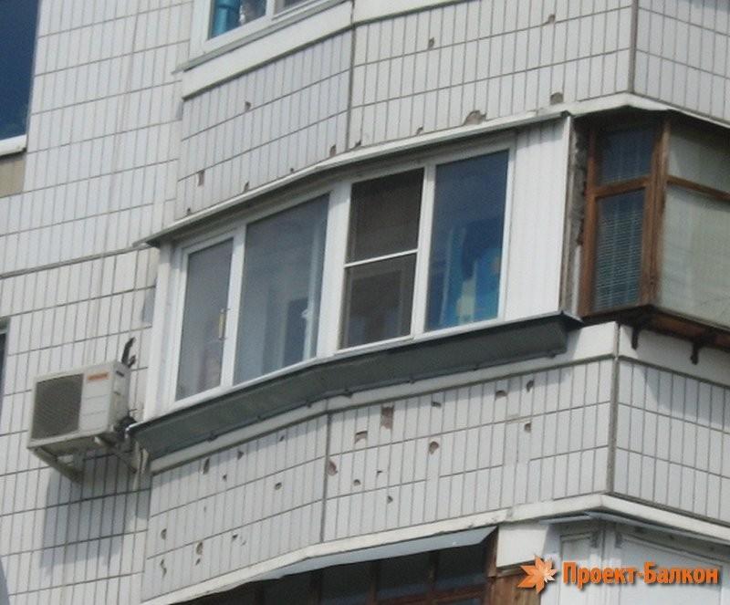 Остекление балкона с выносом подоконника п44.